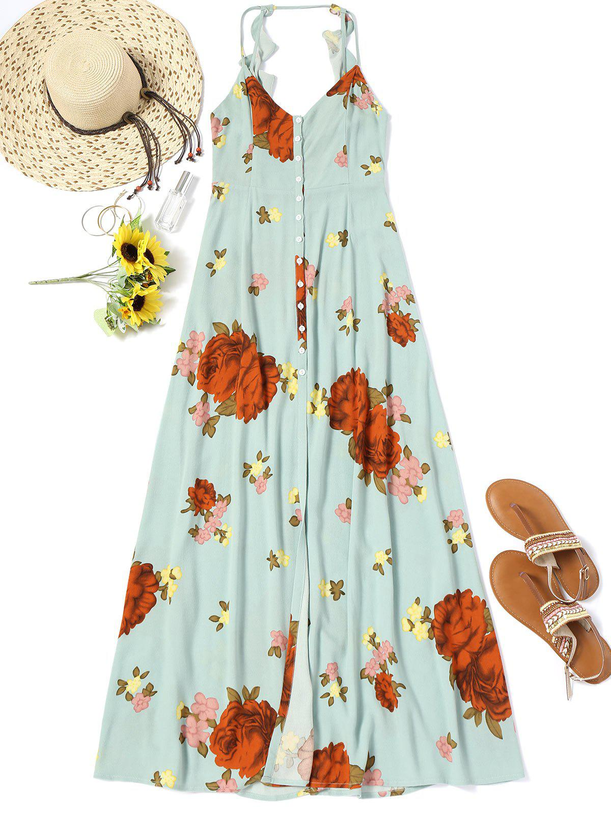 Buttons Long Beach Floral Dress