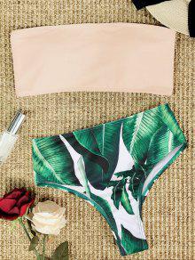 Conjunto De Bikini De Talle Alto Sin Tirantes Palm Leaf - Rosa S