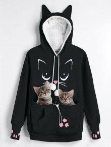 زائد الحجم القط الناقل الحقيبة جيب هوديي - أسود Xl