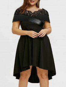 Plus Größe Foldover High Low Party Kleid - Schwarz 5xl