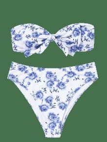Y Blanco Corte Con Grande Bandeau Alto 4xl Talla Bikini Lazo De Tipo qROpRSB0