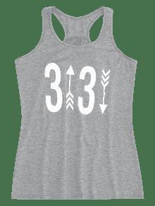 Xl Mangas Gris Camiseta Figure Racerback Estampada Sin RCYqYw4