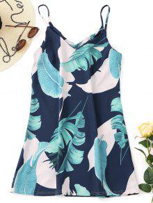 Slip Tropical Mini Vestido Impresso - Cadetblue M