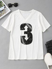 V Neck Number Print T Shirt - Branco S