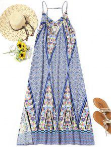 Printed Side Slit Long Beach Dress