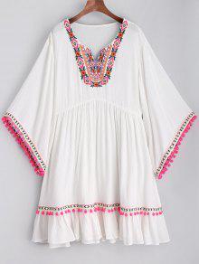 Vestido De Playa Bordado Pom Poms - Blanco M