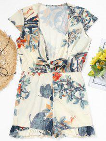 Cap Sleeve Tied Floral Ruffle Romper - Quase Branco S