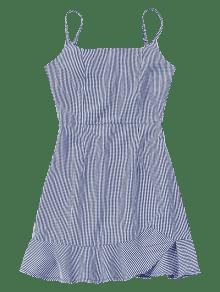 Azul De M Volantes A Con Cuadros Mini Descubierta Espalda Vestido TwxBFx