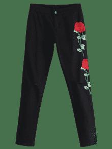 floral gestickt patch zerrissene hose schwarz hosen s zaful. Black Bedroom Furniture Sets. Home Design Ideas