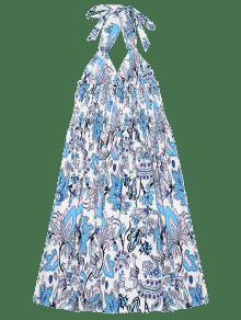 Floral Espalda Halter Cintura Flores Con Del L Estampado La De Sin Vestido En Imperio wTnpqffax