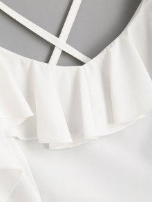 Blanco En La S Minivestido Con De Volantes Criss Cross Cruzados Espalda zxwSPwHq