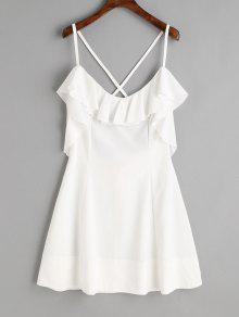 فستان مصغر كشكش متقاطع الظهر - أبيض L