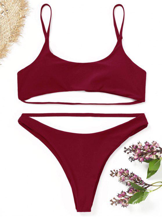 Conjunto de bikini con tiras acolchadas - Dark Red M