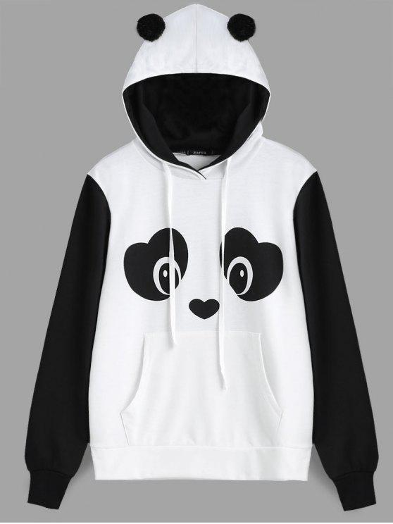 women's Panda Face Kangaroo Pocket Hoodie - BLACK WHITE S