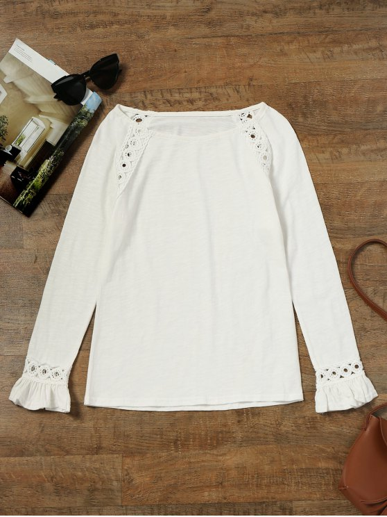 Raglan Sleeve Crochet Panel Top - Branco XL