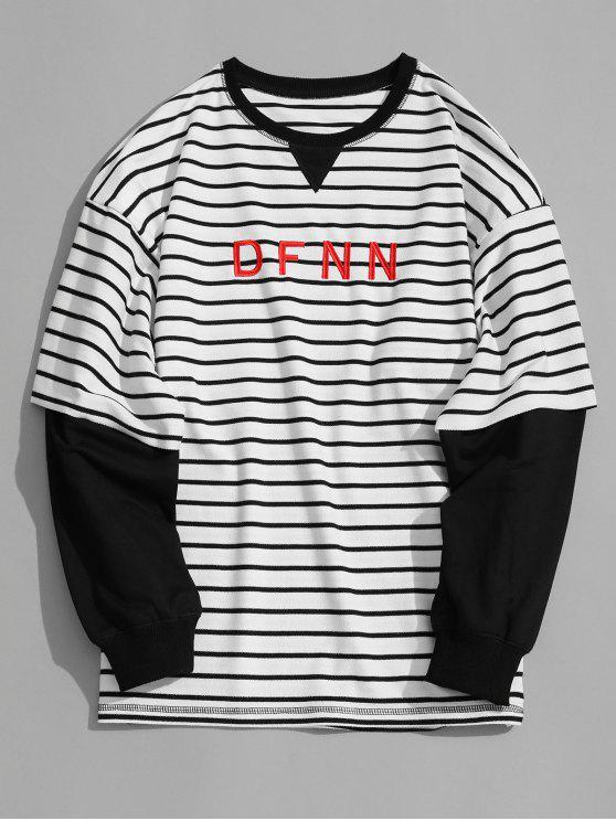 ca6a1a5a0 33% OFF  2019 Dfnn Graphic Striped Sweatshirt In WHITE