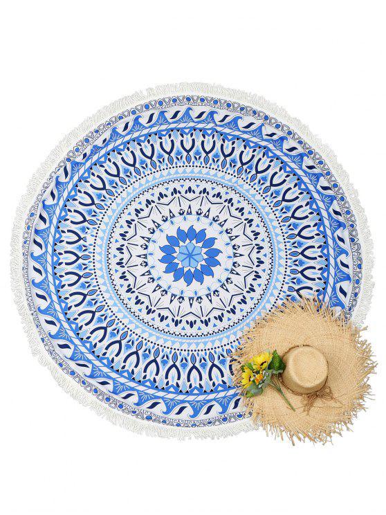 Serviette de Plage Ronde à Pompons Motif Mandala - Bleu Taille Unique