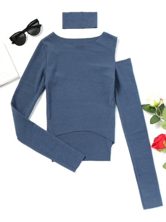 latest High Low Choker Cold Shoulder Top - BLUE ONE SIZE
