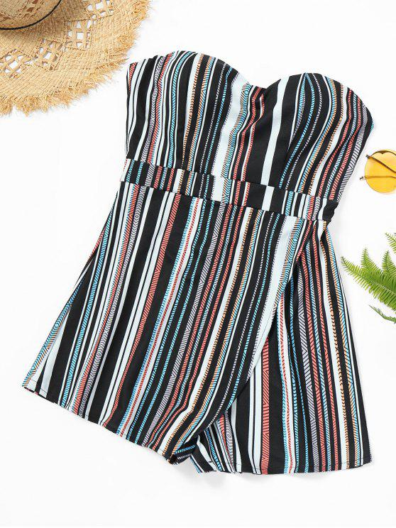 fashion Striped Strapless Overlap Romper - COLOR STRIPE XL