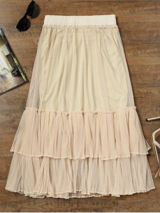 buy Mesh Tiered Ruffle Maxi Skirt - APRICOT M