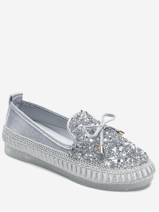 lady Bow Rhinestone Loafer Shoes - SILVER 37