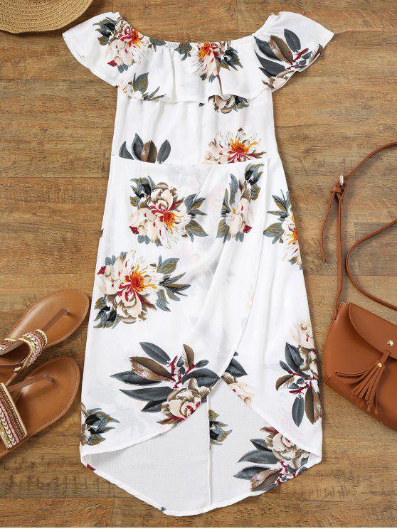 فستان غير متماثل طباعة الأزهار بلا اكتاف كشكش - أبيض L