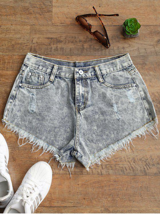 Ripped Frayed Hem Bleach Wash Denim Shorts - Cor branqueada L