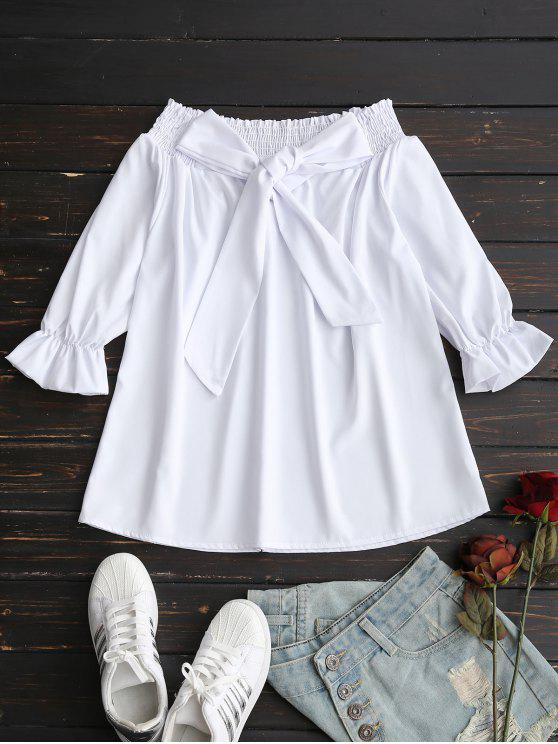 affordable Smocked Off The Shoulder Blouse - WHITE L