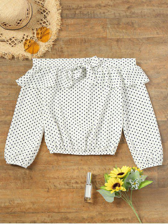 best Off Shoulder Flounce Polka Dot Blouse - WHITE L