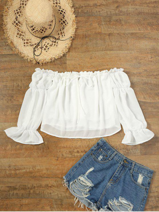 Blusa de cortina de manga flare para babados de ombro - Branco L