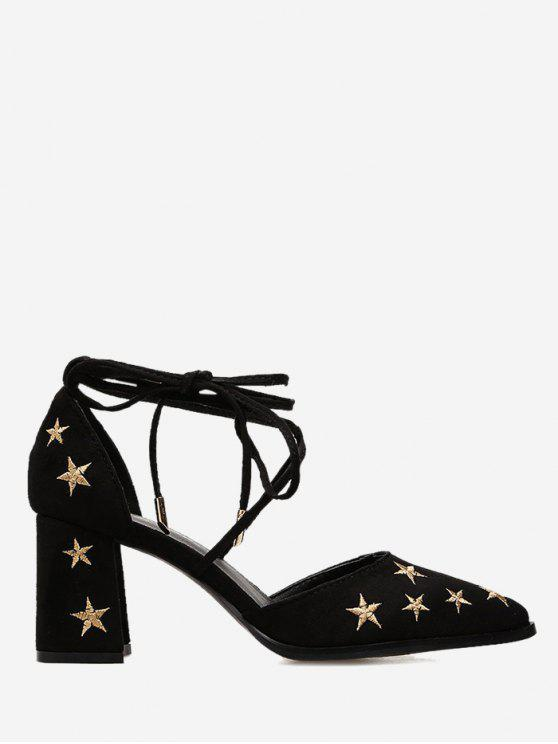 Stars Embroidery Ankle Strap Mid Heel Pumps - Preto 39