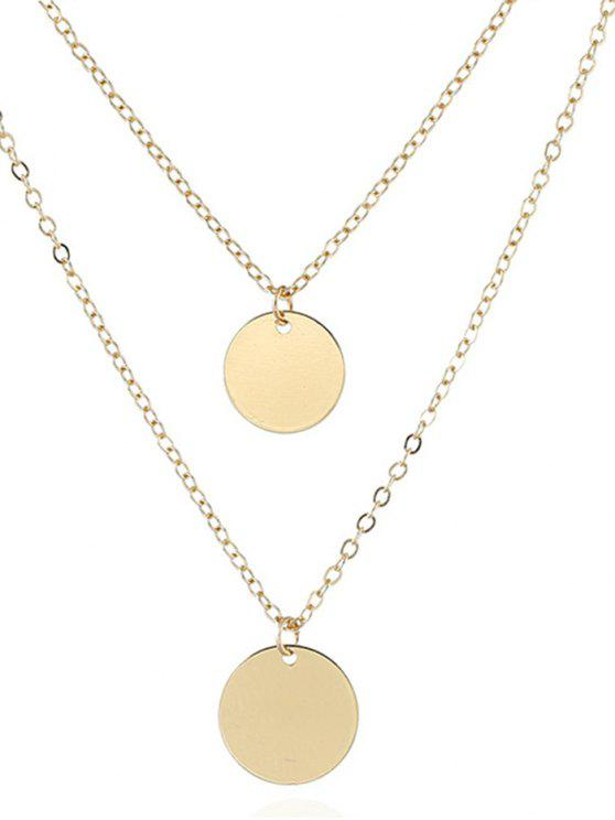 womens Geometrical Layered Alloy Pendant Necklace - GOLDEN