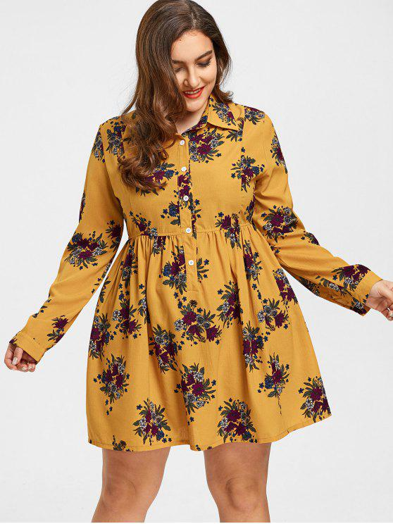 Roll manches boutons Floral Plus Size Dress - Curcumae 2XL