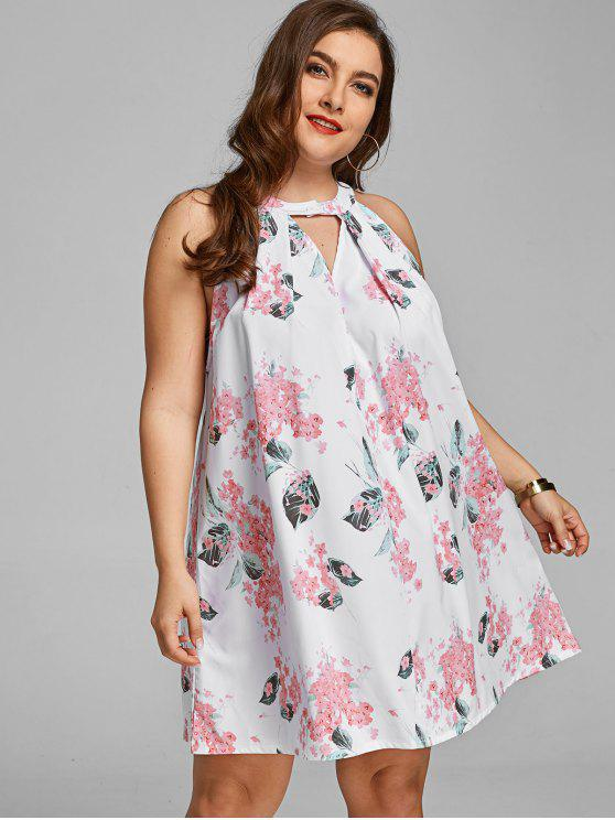 Cut Out Floral Plus Size Trapeze Dress WHITE