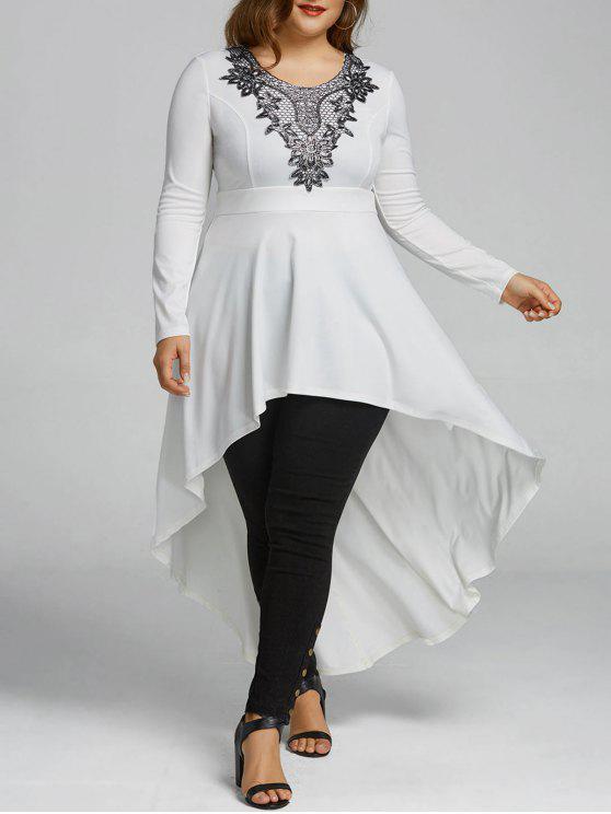 d1475973e 28% OFF] 2019 Plus Size High Low Hem Longline T-shirt In WHITE | ZAFUL