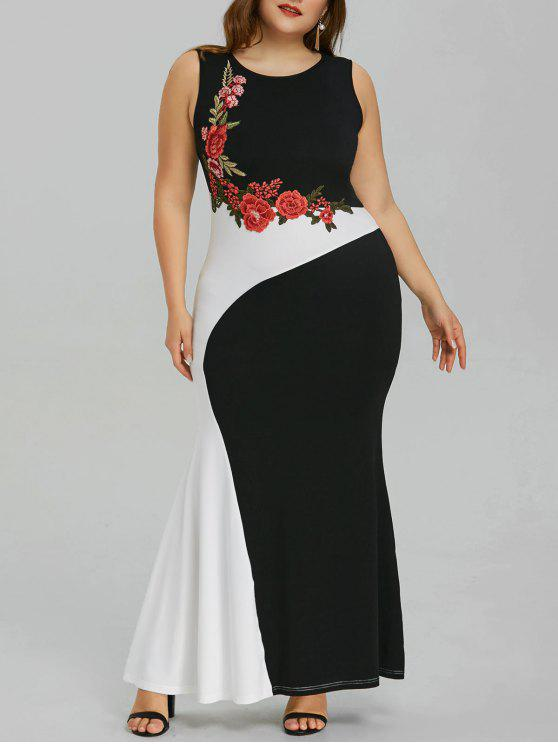 Plus Size Embroidery Maxi Mermaid Party Dress