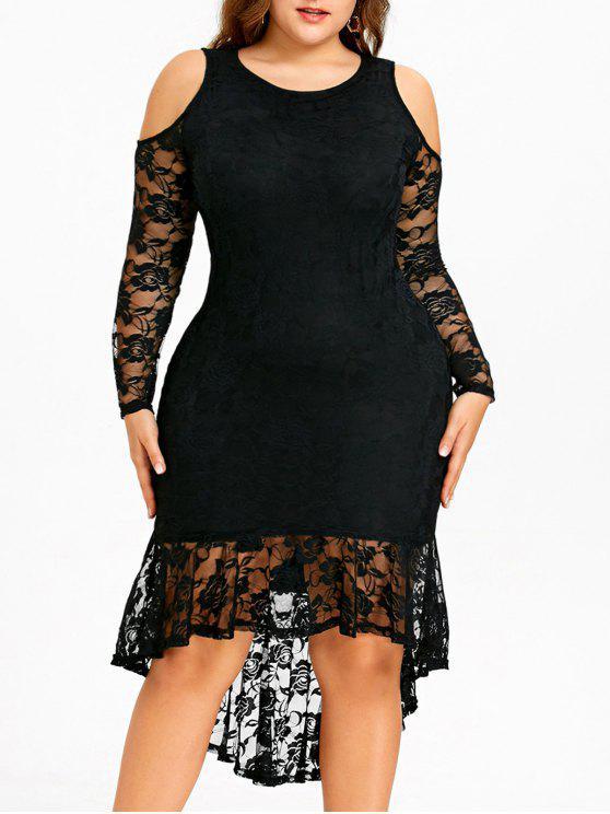 Plus Size Cold Shoulder Lace High Low Dress BLACK