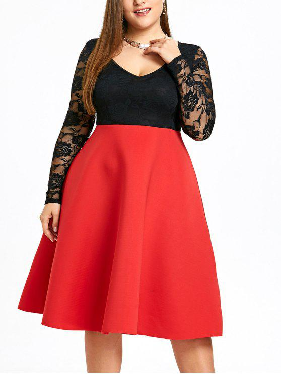 30 Off 2020 Robe Trapeze A Deux Tons Grande Taille Dans Rouge Zaful France