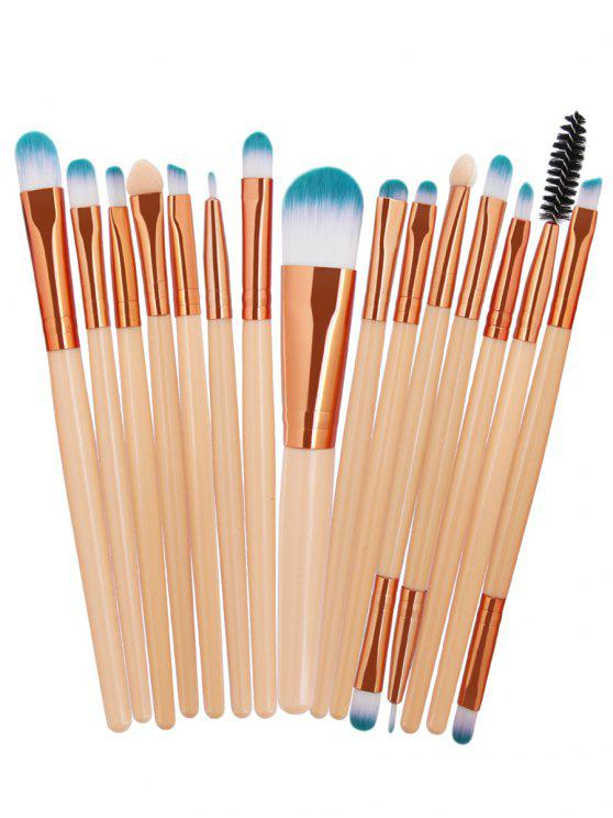 15Pcs Synthetic Fiber Hair Cosmético Makeup Brush Set - Compleição