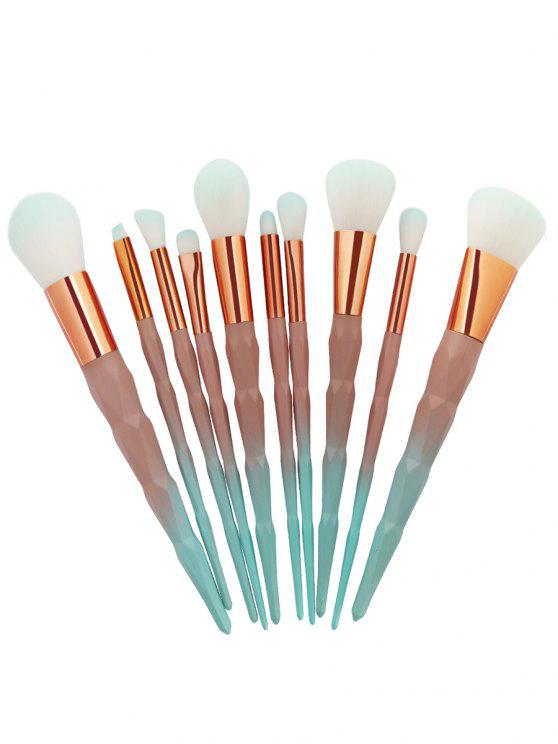 Conjunto de cepillo de maquillaje de cabello con mango de zircon exclusivo - verde+naranja