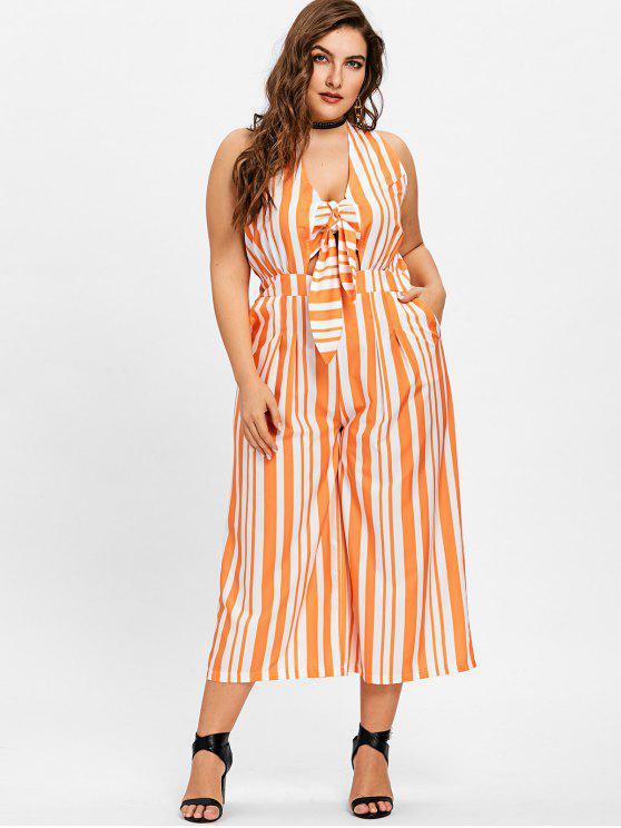 Plus Size Gestreifter Overall mit weitem Bein - Orange + Weiß 5XL