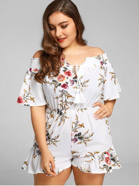 2018 Off Shoulder Floral Plus Size Romper In White 4xl Zaful