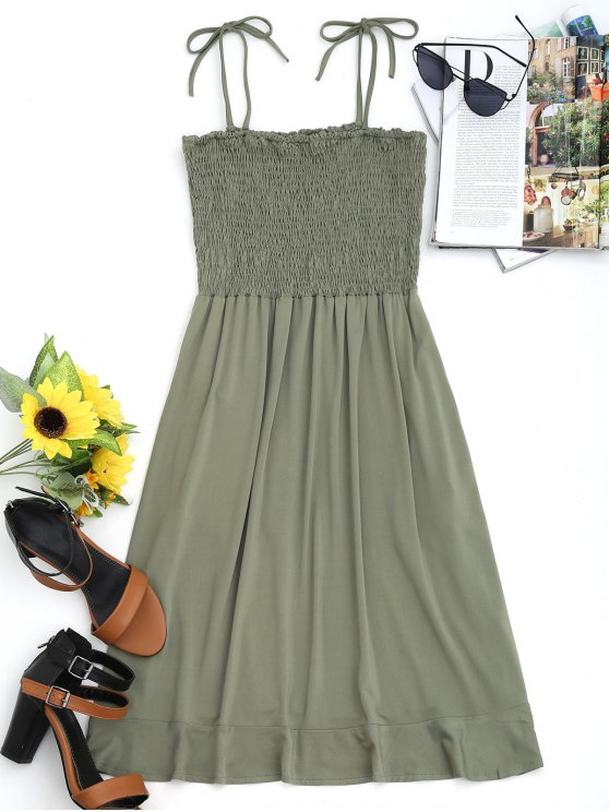 women's Mini Ruffle Smocked Slip Dress - ARMY GREEN S