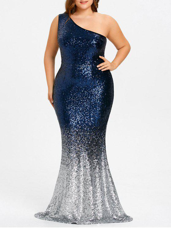 2018 Plus Size One Shoulder Sequined Mermaid Dress In Blue Xl Zaful