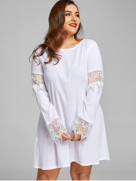 Plus Size Crochet Lace Panel Shift Dress WHITE