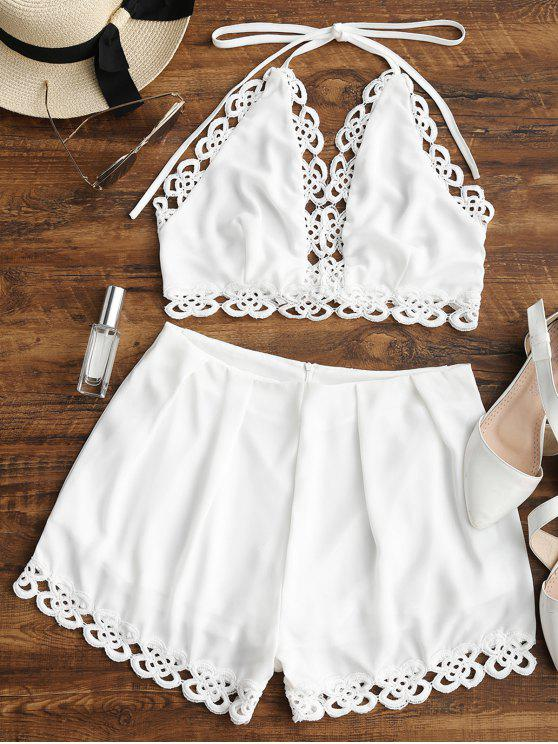 new Lace Panel Halter Top and Shorts Set - WHITE S