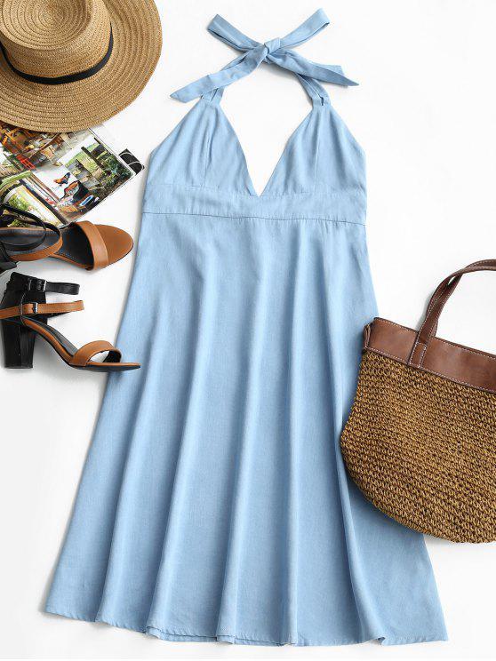 affordable Empire Waist Backless Halter Dress - CHARM M