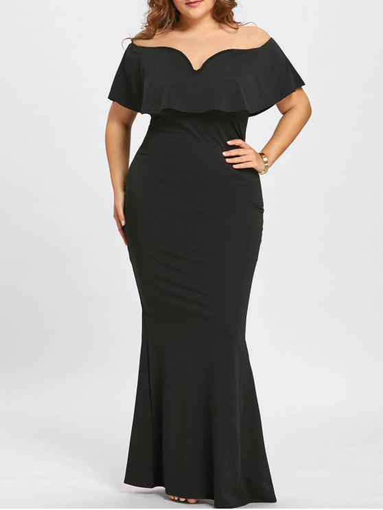 2018 Plus Size Ruffle Off The Shoulder Mermaid Dress In Black 4xl