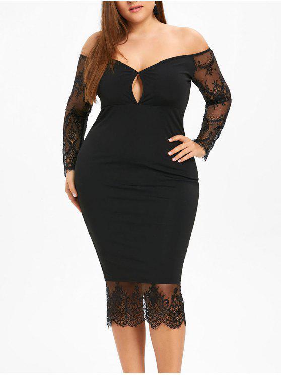 Plus Size Keyhole Off The Shoulder Bodycon Dress Black Plus Size
