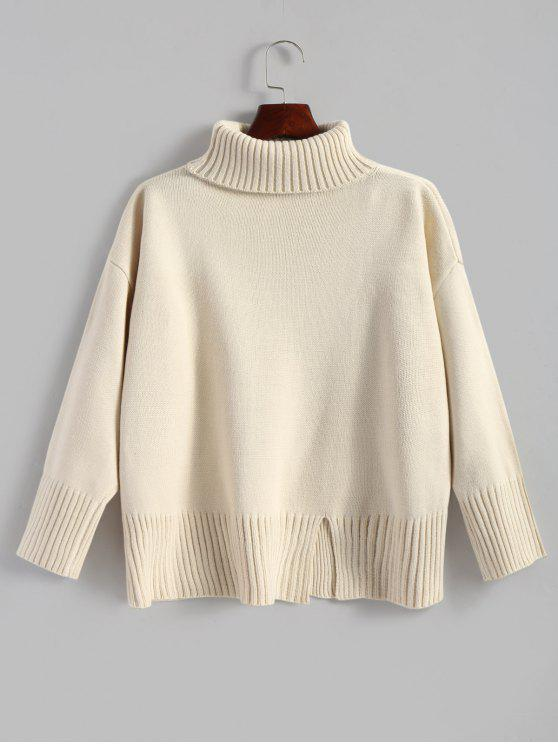 trendy Slit Oversized Turtleneck Sweater - OFF-WHITE ONE SIZE